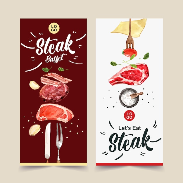 Steak flyer design with fresh meat, tomato watercolor illustration. Free Vector