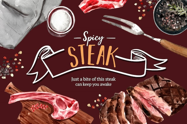 Steak frame design with grilled meat, pepper watercolor illustration. Free Vector