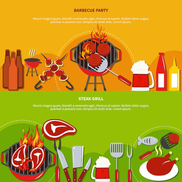 Steak grill on barbecue party Free Vector