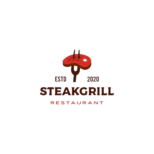 Steak grill logo Premium Vector