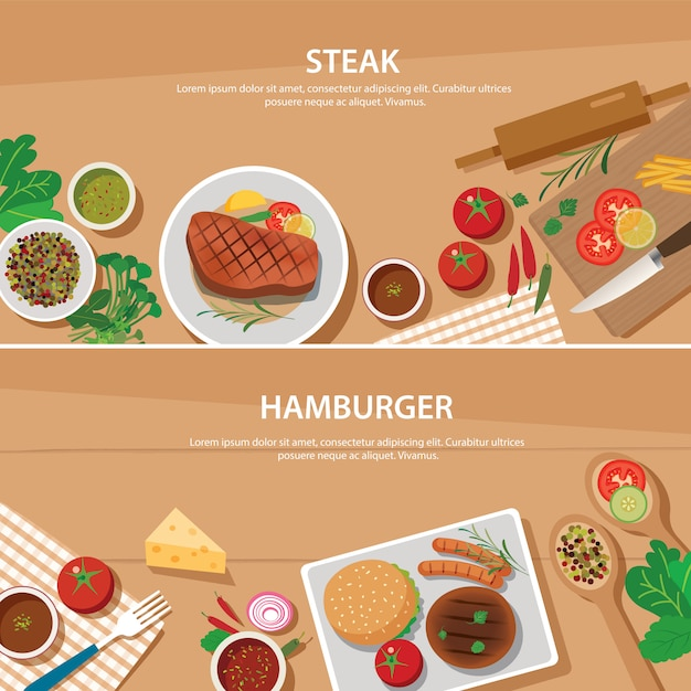 Steak and hamburger banner flat design template Premium Vector