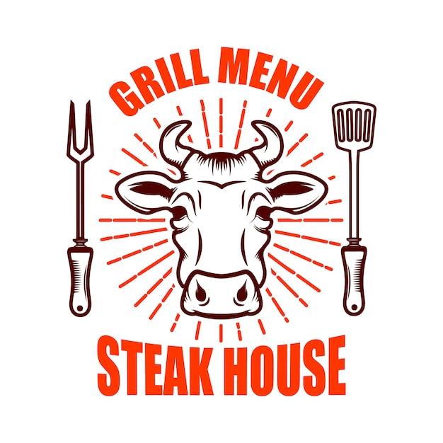 ステーキハウス。牛の頭と交差した包丁。ロゴ、ラベル、エンブレムの要素。図 Premiumベクター