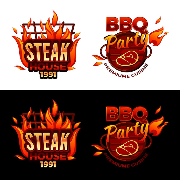 Steak house illustration for barbecue party logo or premium meat cuisine Free Vector