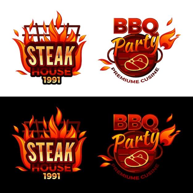 バーベキューパーティロゴや高級肉料理のステーキハウスのイラスト 無料ベクター