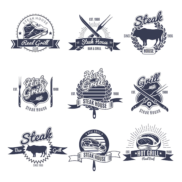 Steak house label set Free Vector