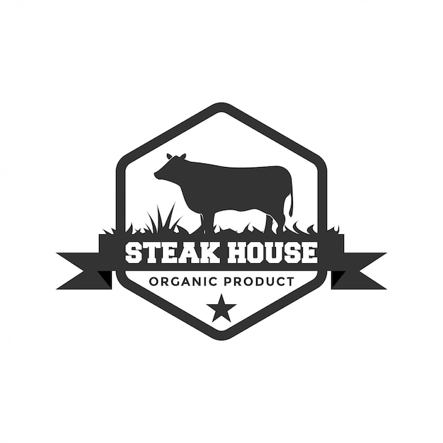 Steak house logo design inspiration Premium Vector