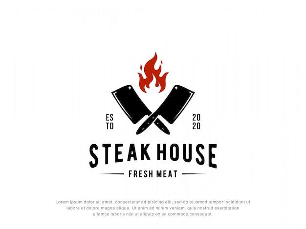 Steak house logo inspiration Premium Vector