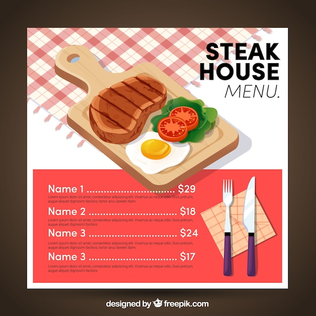 Steak house menu template Free Vector