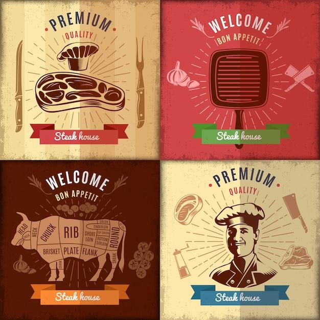 ステーキハウスのポスターデザイン 無料ベクター