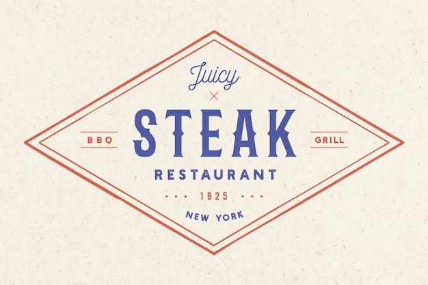 Steak, logo, meat label. logo with text steak restaurant, juicy steak Premium Vector
