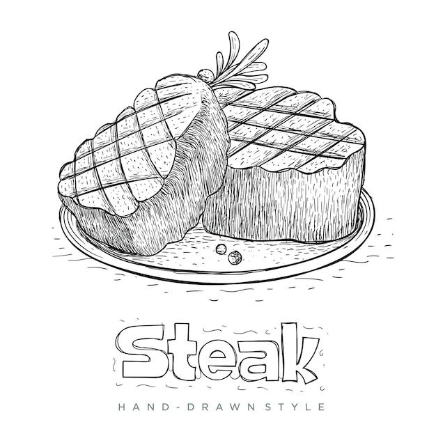 手描きでレディプレートのステーキ Premiumベクター