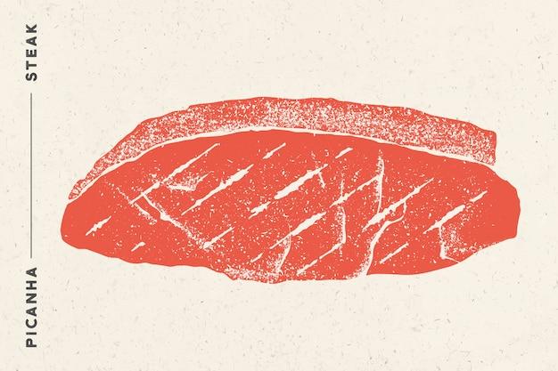 Стейк, пиканья. плакат с стейк силуэт, текст пиканья, стейк. логотип типография шаблон для мясной магазин, рынок, ресторан. наклейка и меню. иллюстрация Premium векторы