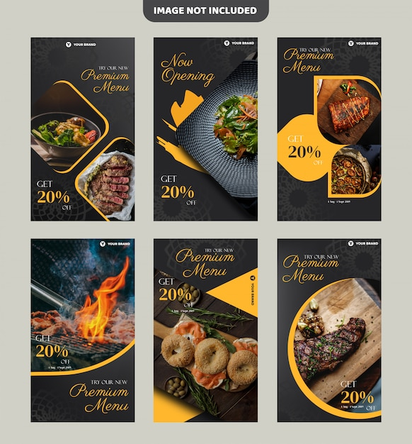 Steak restaurant flyer template or instagram history banner Premium Vector