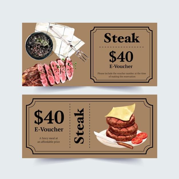Steak voucher design with cheese, steak watercolor illustration. Free Vector