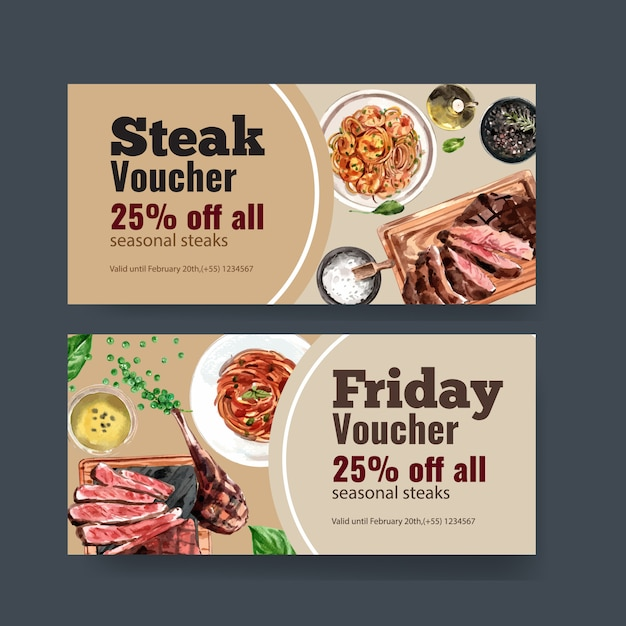 Steak voucher design with spaghetti, beef steak watercolor illustration. Free Vector
