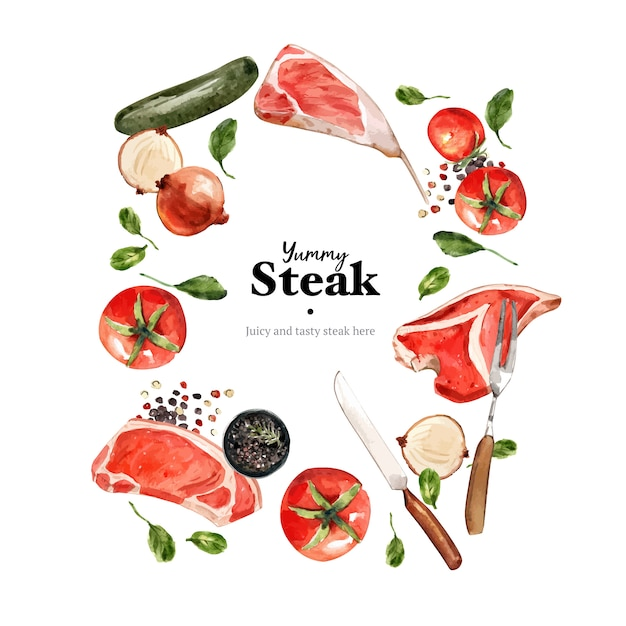 Steak wreath design with vegetable, fresh meat watercolor illustration Free Vector
