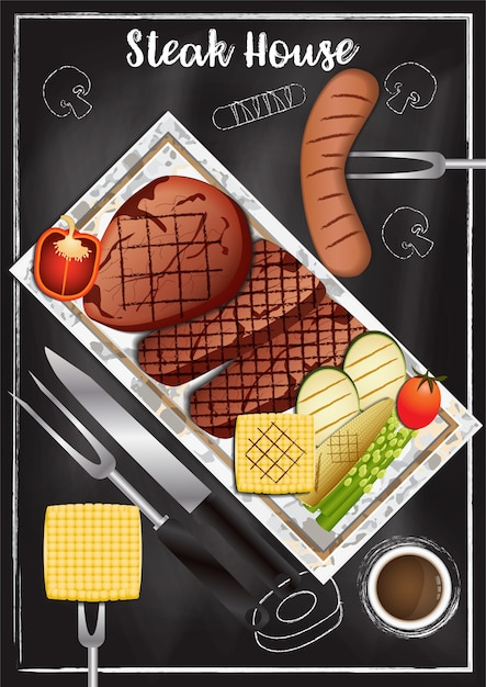 Steakhouse with chalkboard background Premium Vector