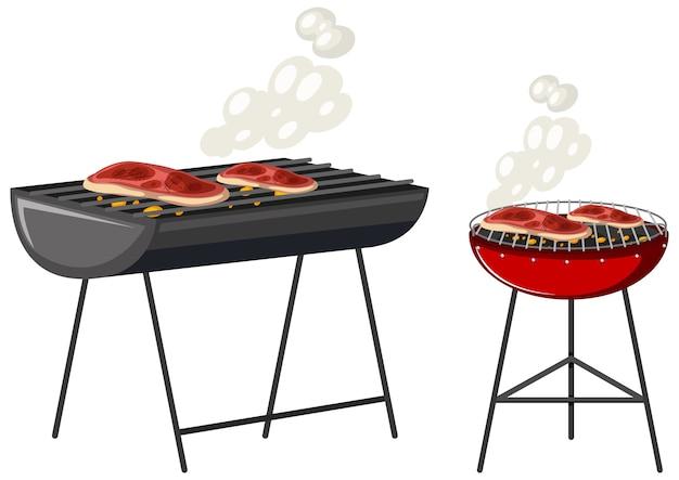 Bistecche sul personaggio dei cartoni animati di gril isolato su priorità bassa bianca Vettore gratuito