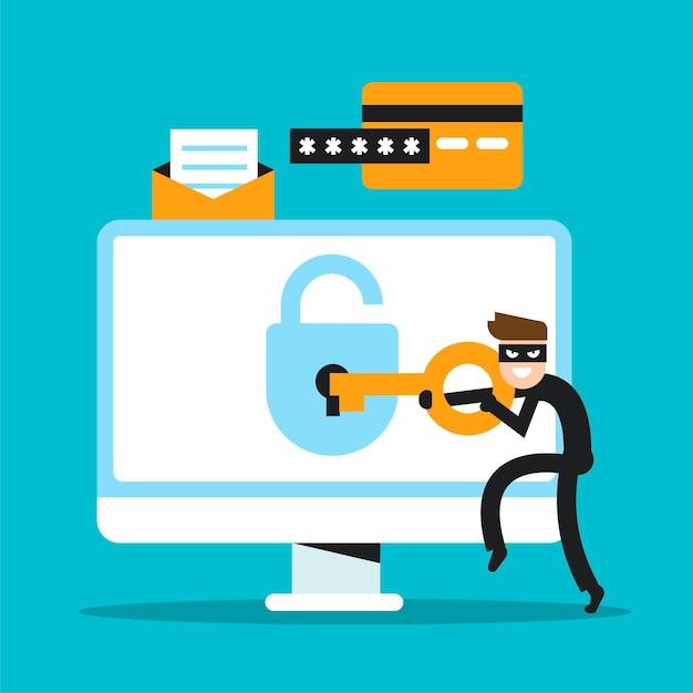 Ruba il concetto di dati con l'hacking dei personaggi Vettore gratuito