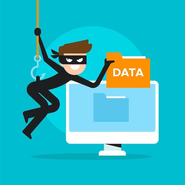 Ruba il concetto di dati con il ladro informatico Vettore gratuito