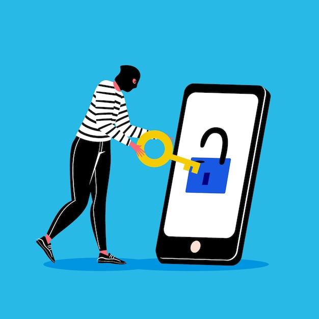 泥棒と電話でデータの概念を盗む 無料ベクター