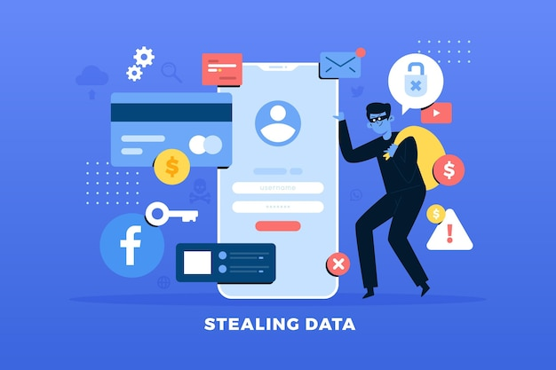 Steal data concept with thief Free Vector