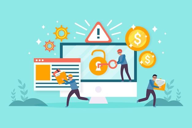 Ruba il concetto di dati con ladri e computer Vettore gratuito