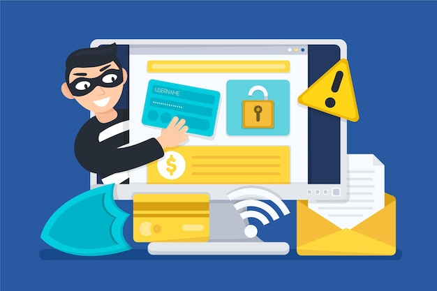 Steal data concept Free Vector