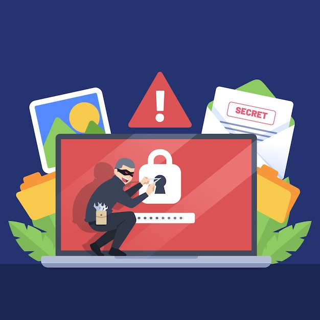 Ruba il concetto di attacco informatico ai dati Vettore gratuito