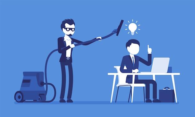 Кража бизнес-идей. человек в маске с пылесосом подметает трубку мозгов, мысли творческого работника, использование без разрешения или законного права. иллюстрация с безликими персонажами Premium векторы