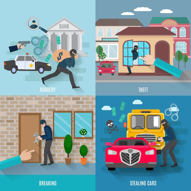 Stealing icons set Free Vector
