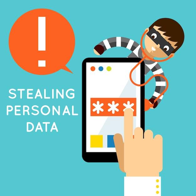 Rubare dati personali. protezione internet, criminalità hacker, sicurezza e password, Vettore gratuito