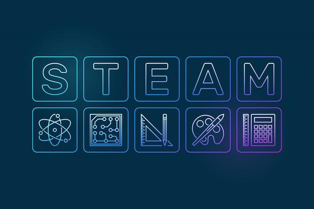 Steam outline illustration Premium Vector