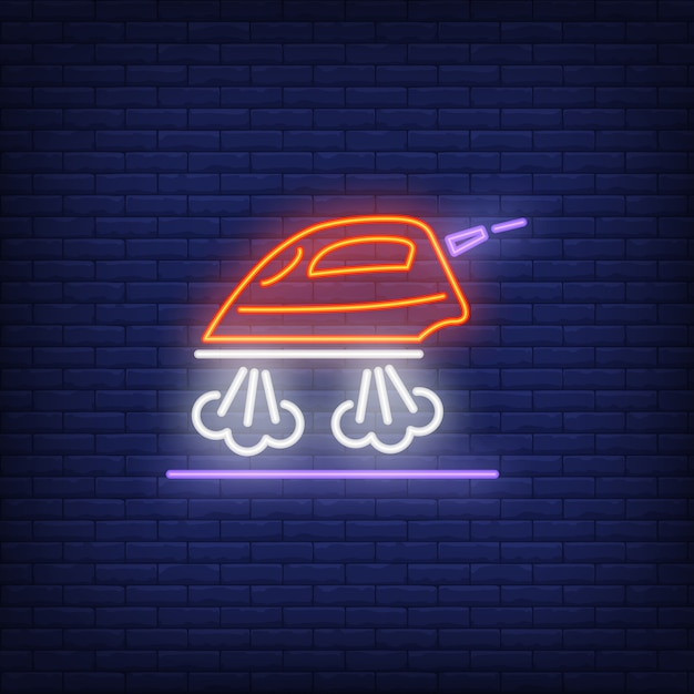 Steaming iron neon sign Free Vector