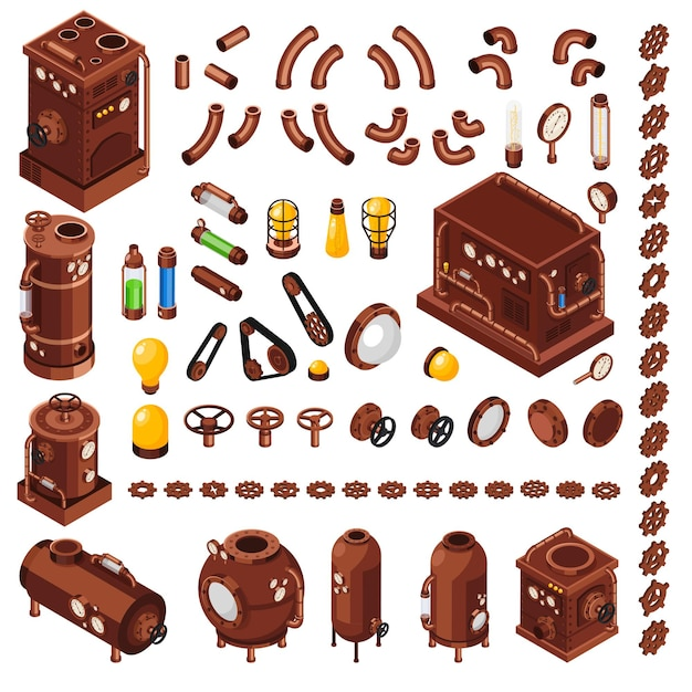 Steampunk art constructor isometric  collection of  elements inspired by 19th century steam powered machinery Free Vector
