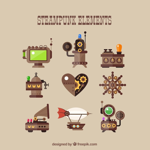 Steampunk element collection in flat design Premium Vector