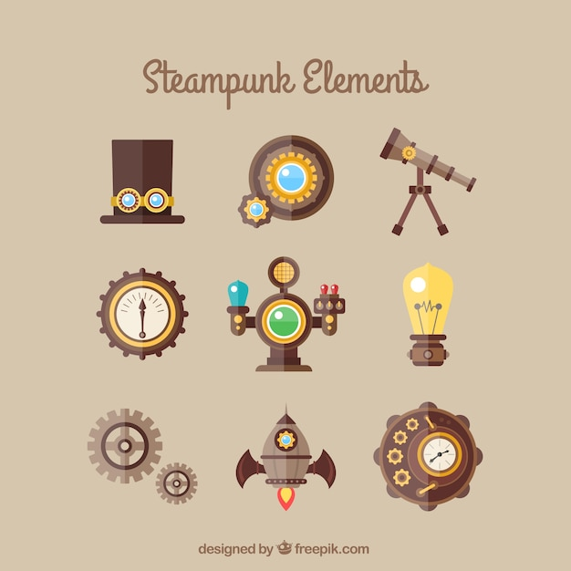 Steampunk element collection Free Vector