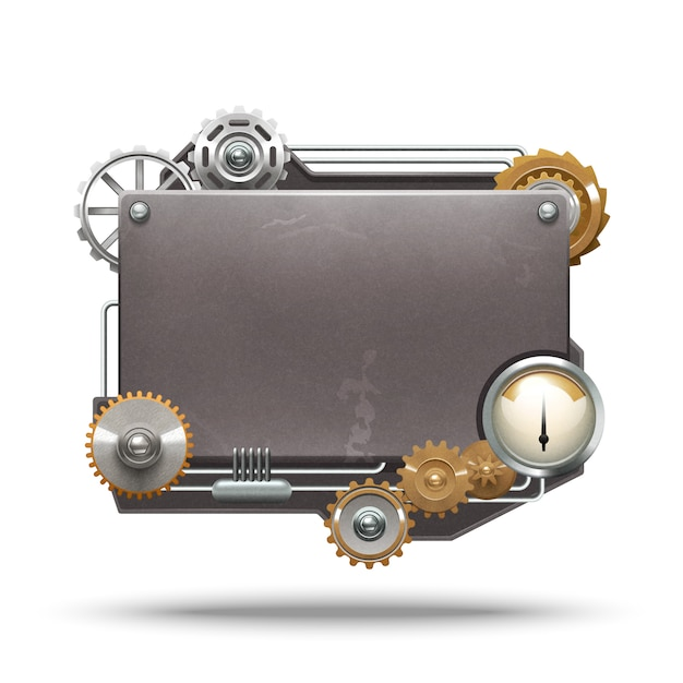 Steampunk frame in vintage style on white background Free Vector