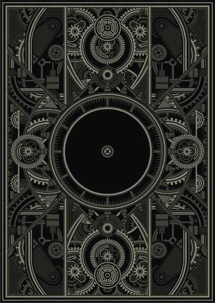 Steampunk poster template vector eps Premium Vector