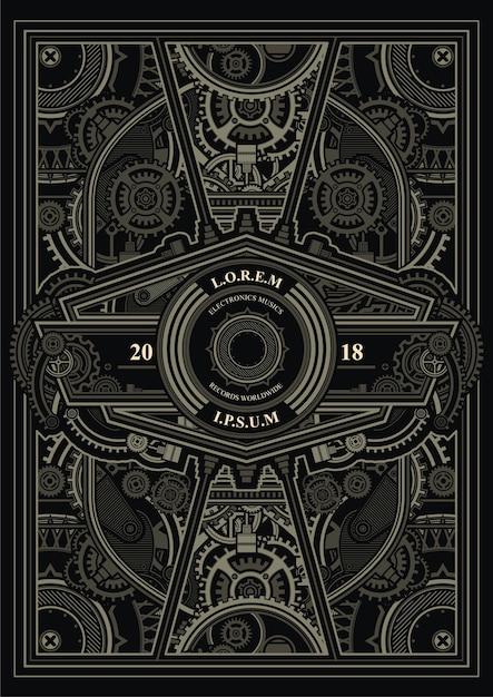 steampunk poster template vector premium download