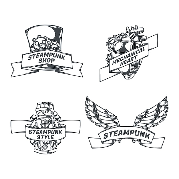Steampunk set of isolated emblems with mechanical wings heart sketch style images and ribbons with text Free Vector