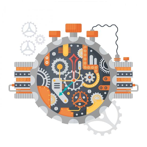 Steampunk vintage clock face Premium Vector