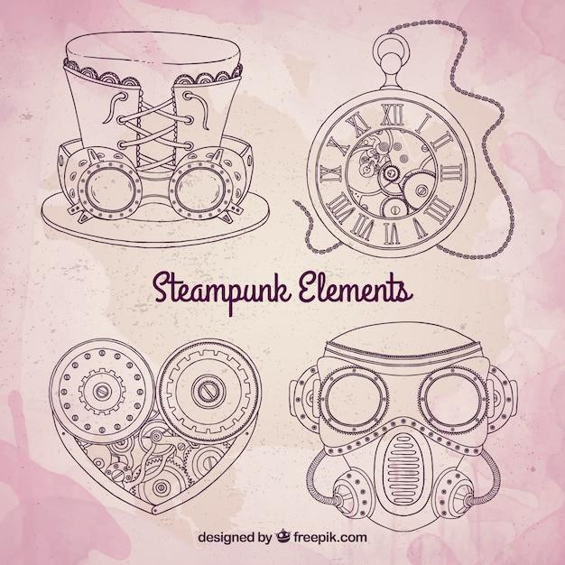 Эскизные steampunk элементы механик Premium векторы