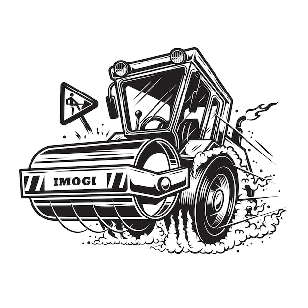 Of steamroller with smoke under the wheels on white background. monochrome style Free Vector