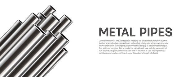 Steel, aluminum, metal pipes, stack of tube, pvc. Premium Vector