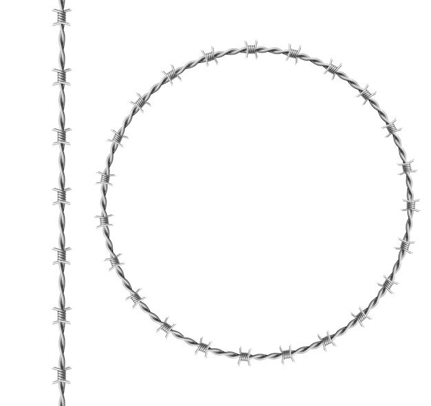 鉄の鉄線セット、白い背景で隔離のとげを持つツイストワイヤーからサークルフレーム。刑務所のフェンス、軍事境界の鋭いとげのある金属チェーンの現実的なシームレスな境界線 無料ベクター