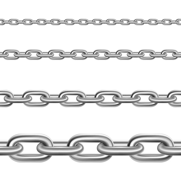 Steel chains horizontal realistic set Free Vector