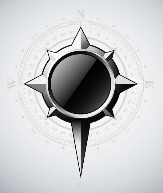 Steel compass rose with scale Premium Vector