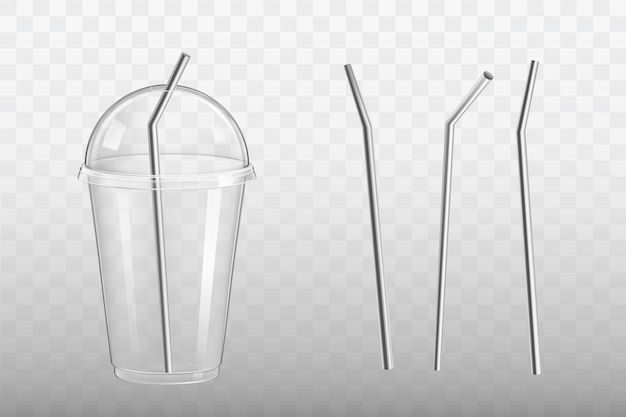 Steel drinking straw in plastic glass vector Free Vector
