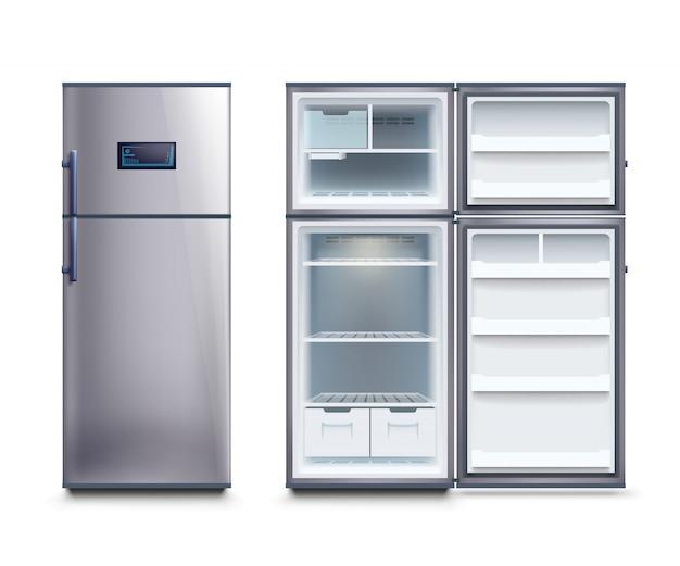 Steel fridges set Premium Vector